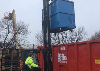 Drop bottom bins