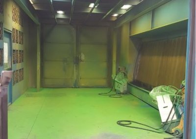 Inside of spray booth
